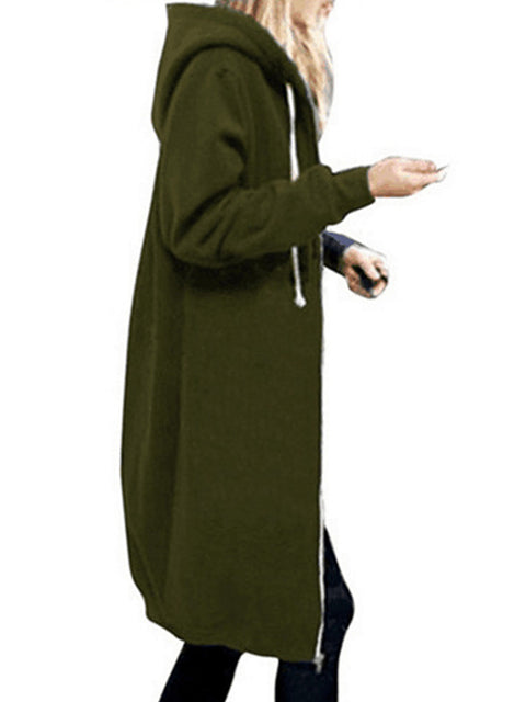 Color=Dark Green | Women'S Warm Hooded Cardigan Coat With Front Zipper-Dark Green 3