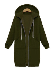 Color=Dark Green | Women'S Warm Hooded Cardigan Coat With Front Zipper-Dark Green 1