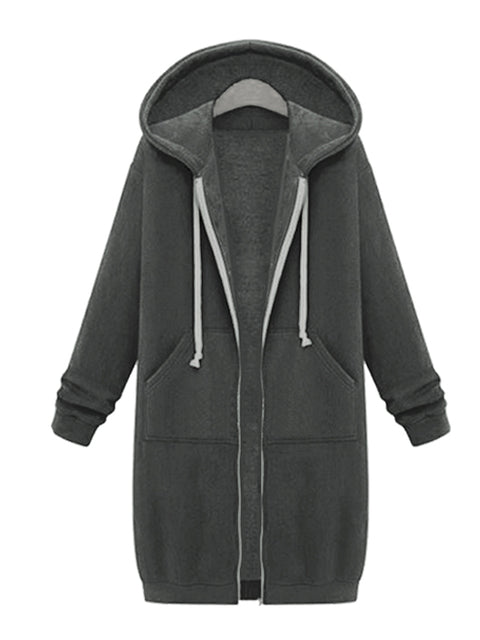 Color=Deep Grey | Women'S Warm Hooded Cardigan Coat With Front Zipper-Deep Grey 1