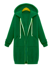 Color=Green | Women'S Warm Hooded Cardigan Coat With Front Zipper-Green 1