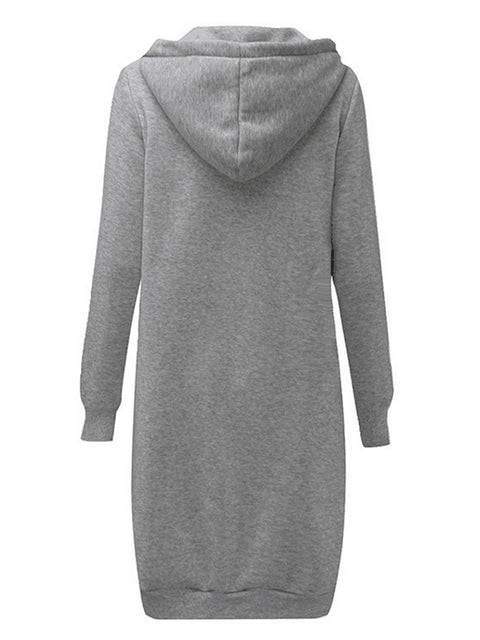 Color=Grey | Women'S Warm Hooded Cardigan Coat With Front Zipper-Grey 2