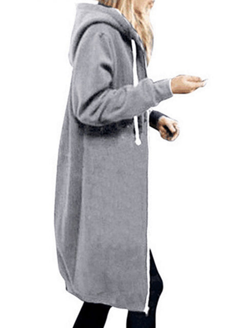 Color=Grey | Women'S Warm Hooded Cardigan Coat With Front Zipper-Grey 3