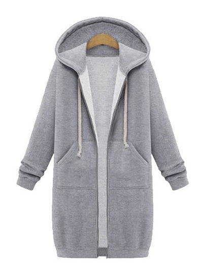 Color=Grey | Women'S Warm Hooded Cardigan Coat With Front Zipper-Grey 1