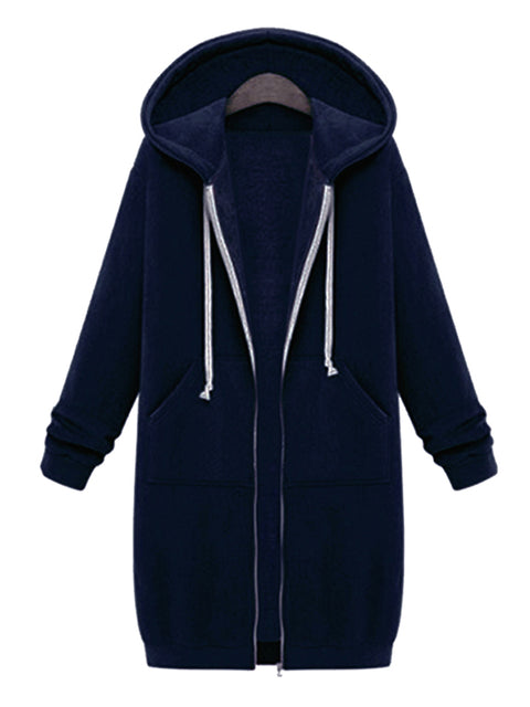 Color=Navy Blue | Women'S Warm Hooded Cardigan Coat With Front Zipper-Navy Blue 1
