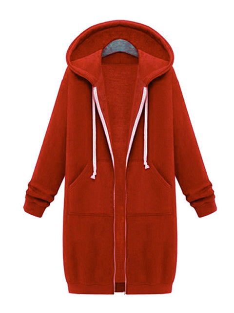 Color=Orange | Women'S Warm Hooded Cardigan Coat With Front Zipper-Orange 1