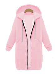 Color=Pink | Women'S Warm Hooded Cardigan Coat With Front Zipper-Pink 1