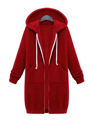 Color=Red | Women'S Warm Hooded Cardigan Coat With Front Zipper-Red 1
