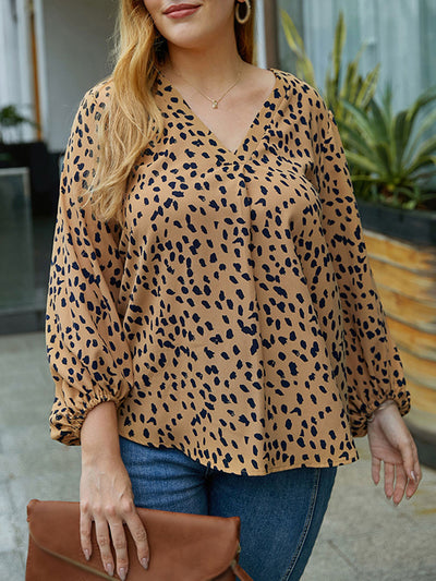 Color=Mushroom | Women'S Plus Size Polka Dot Blouse With Long Sleeves-Mushroom 1
