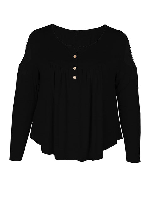 Color=Black | Stunning Plus Size Shirts For Women With Cold Shoulder-Black 3