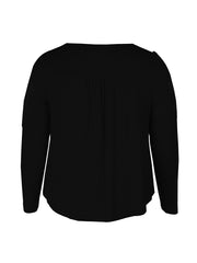 Color=Black | Stunning Plus Size Shirts For Women With Cold Shoulder-Black 4
