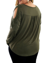 Color=Dark Green | Stunning Plus Size Shirts For Women With Cold Shoulder-Dark Green 2