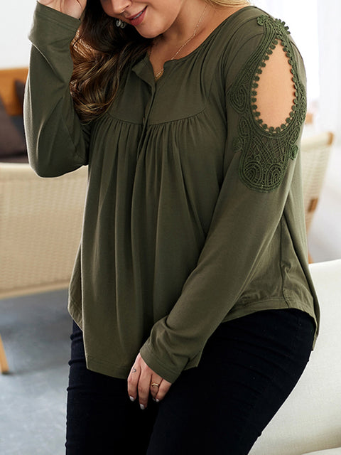 Color=Dark Green | Stunning Plus Size Shirts For Women With Cold Shoulder-Dark Green 3