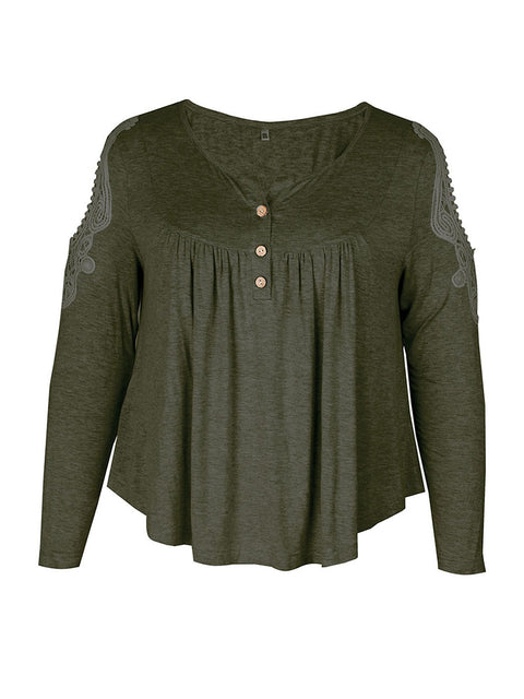 Color=Dark Green | Stunning Plus Size Shirts For Women With Cold Shoulder-Dark Green 4