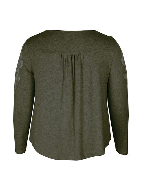 Color=Dark Green | Stunning Plus Size Shirts For Women With Cold Shoulder-Dark Green 5
