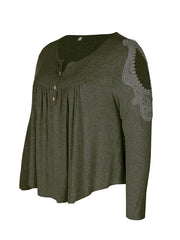 Color=Dark Green | Stunning Plus Size Shirts For Women With Cold Shoulder-Dark Green 6