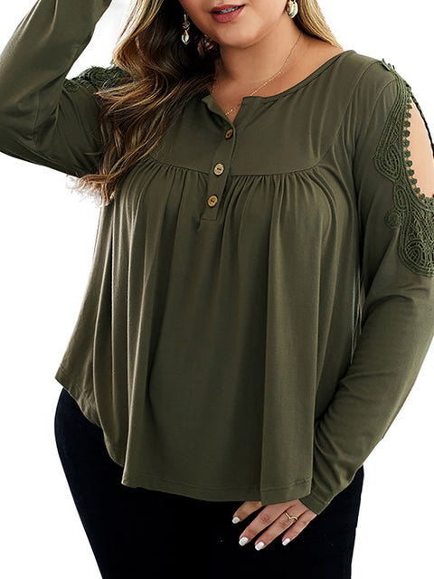 Color=Dark Green | Stunning Plus Size Shirts For Women With Cold Shoulder-Dark Green 1