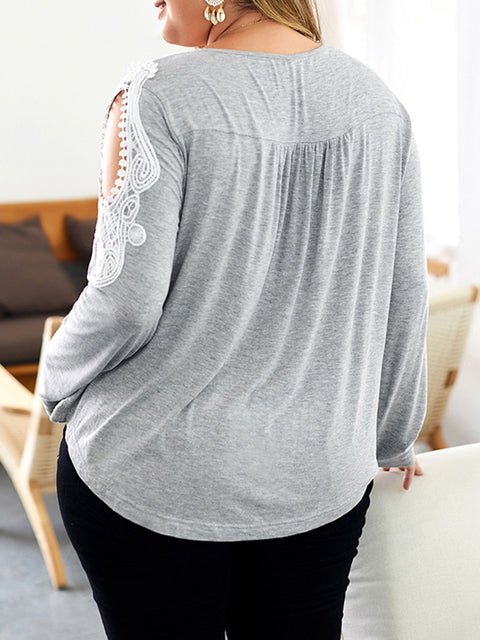 Color=Grey | Stunning Plus Size Shirts For Women With Cold Shoulder-Grey 2