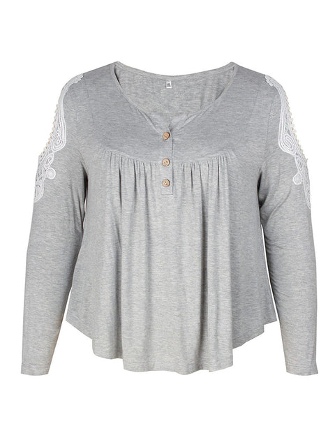 Color=Grey | Stunning Plus Size Shirts For Women With Cold Shoulder-Grey 4