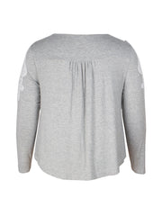 Color=Grey | Stunning Plus Size Shirts For Women With Cold Shoulder-Grey 5