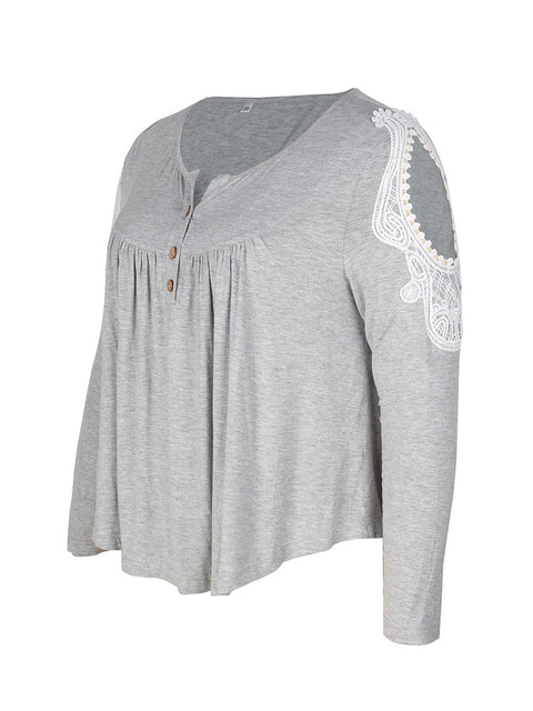 Color=Grey | Stunning Plus Size Shirts For Women With Cold Shoulder-Grey 6