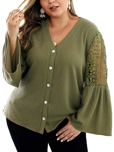 Color=Dark Green | Sexy Beauty Back V Neck Plus Size Knitwear Top With Flatter Sleeves-Dark Green 1