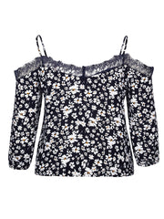 Color=Navy Blue | Cute Spaghetti Straps Floral Printed Shirts For Women-Navy Blue 4