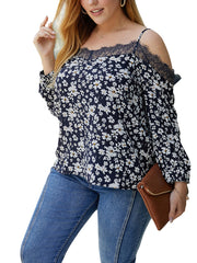 Color=Navy Blue | Cute Spaghetti Straps Floral Printed Shirts For Women-Navy Blue 1