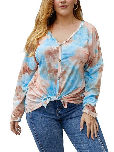 Color=Orange | Women'S Buttoned Up Ti-Dye Shirts With Long Sleeves-Orange 1