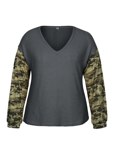 Color=Grey | Trendy V Neck Loose Shirts For Women With Patchwork Sleeves-Grey 4