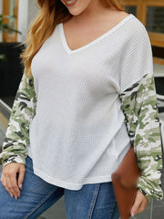 Color=White | Trendy V Neck Loose Shirts For Women With Patchwork Sleeves-White 3