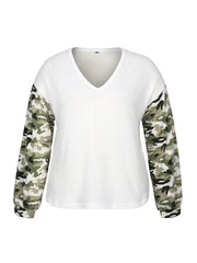 Color=White | Trendy V Neck Loose Shirts For Women With Patchwork Sleeves-White 4