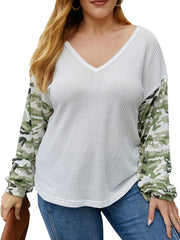 Color=White | Trendy V Neck Loose Shirts For Women With Patchwork Sleeves-White 1
