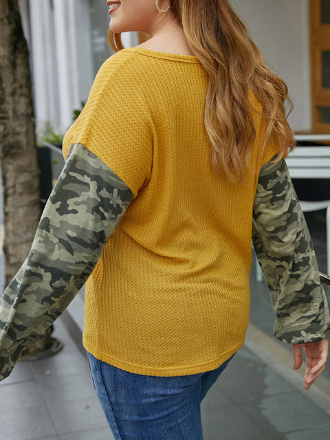 Color=Yellow | Trendy V Neck Loose Shirts For Women With Patchwork Sleeves-Yellow 2