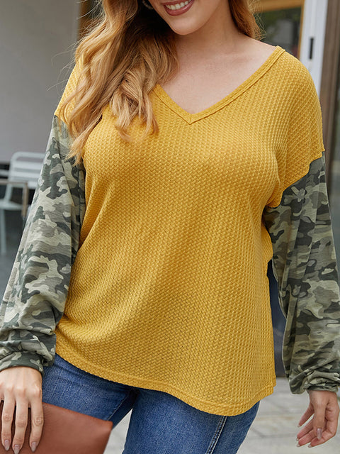 Color=Yellow | Trendy V Neck Loose Shirts For Women With Patchwork Sleeves-Yellow 3