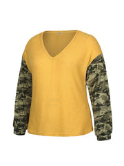 Color=Yellow | Trendy V Neck Loose Shirts For Women With Patchwork Sleeves-Yellow 4