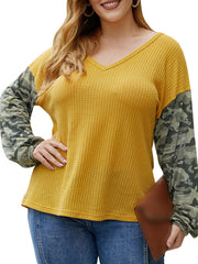 Color=Yellow | Trendy V Neck Loose Shirts For Women With Patchwork Sleeves-Yellow 1