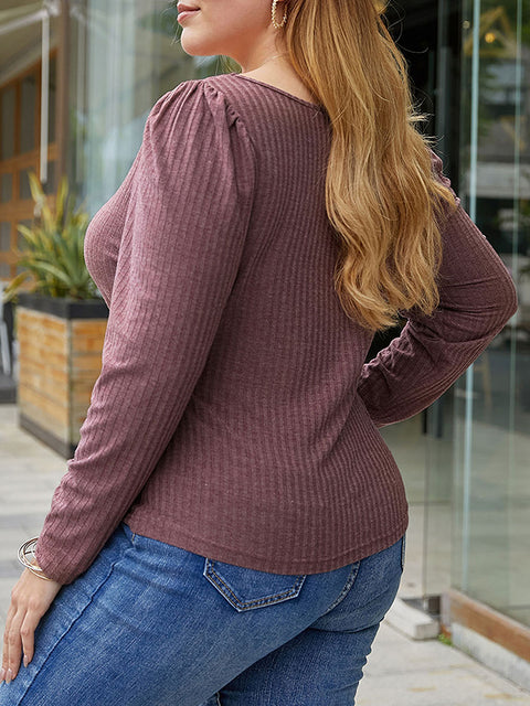 Color=Burgundy | Simple Square Neckline Long Sleeve Casual Outfit Top-Burgundy 2