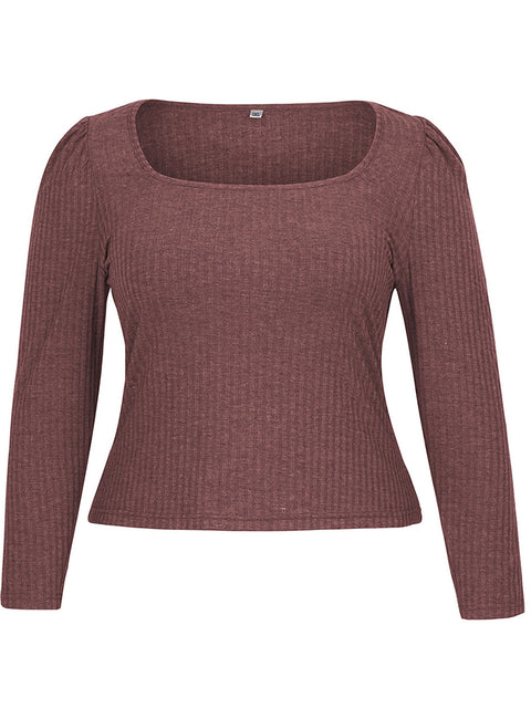Color=Burgundy | Simple Square Neckline Long Sleeve Casual Outfit Top-Burgundy 4