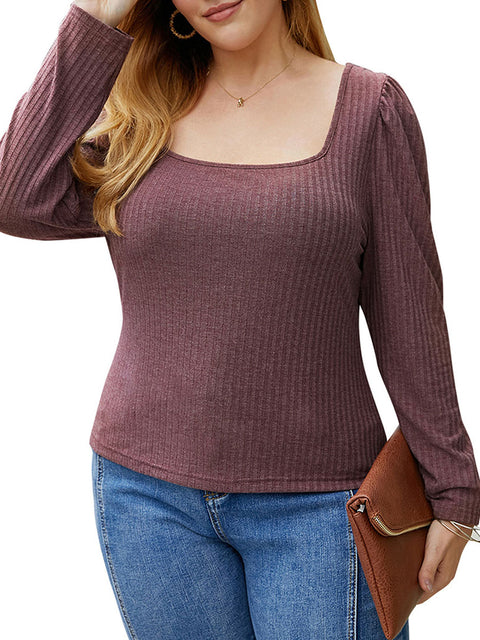 Color=Burgundy | Simple Square Neckline Long Sleeve Casual Outfit Top-Burgundy 1