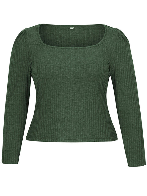 Color=Green | Simple Square Neckline Long Sleeve Casual Outfit Top-Green 4