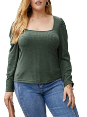 Color=Green | Simple Square Neckline Long Sleeve Casual Outfit Top-Green 1