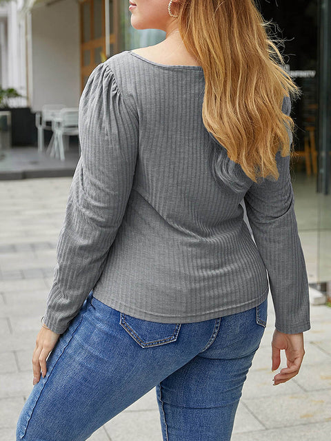 Color=Grey | Simple Square Neckline Long Sleeve Casual Outfit Top-Grey 2
