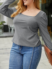 Color=Grey | Simple Square Neckline Long Sleeve Casual Outfit Top-Grey 3
