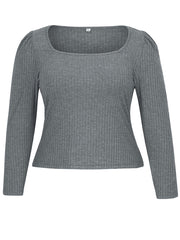 Color=Grey | Simple Square Neckline Long Sleeve Casual Outfit Top-Grey 4