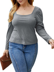 Color=Grey | Simple Square Neckline Long Sleeve Casual Outfit Top-Grey 1