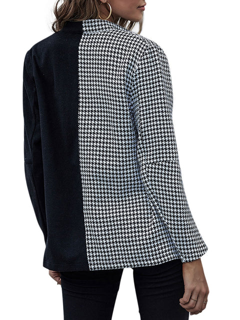 Color=Black | Fashion Patchwork Blazer With Houndstooth Check-Black 2