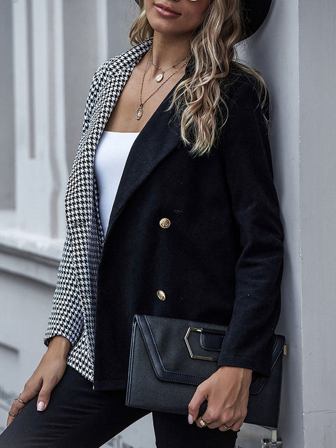 Color=Black | Fashion Patchwork Blazer With Houndstooth Check-Black 3