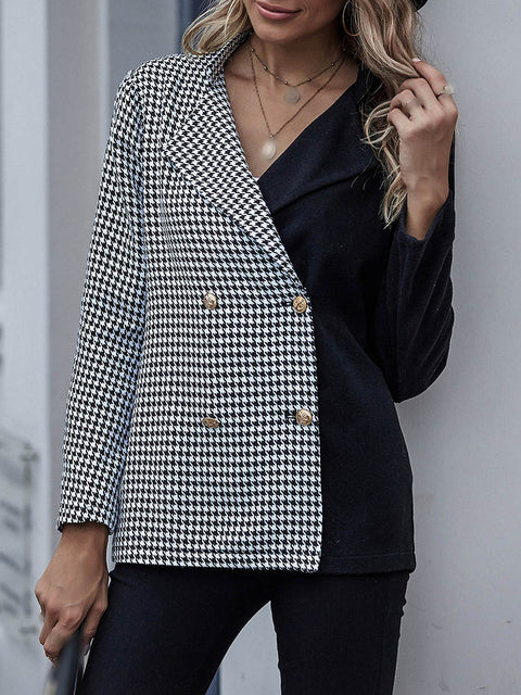 Color=Black | Fashion Patchwork Blazer With Houndstooth Check-Black 4