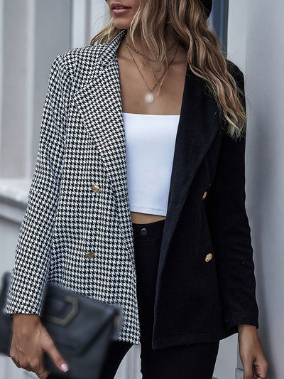 Color=Black | Fashion Patchwork Blazer With Houndstooth Check-Black 1