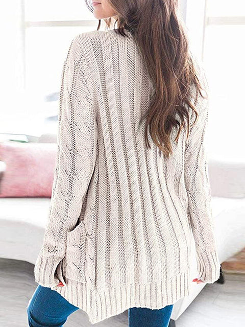 Color=Beige | Casual Warm Knitwear Buttoned Up Cardigan For Women-Beige 2